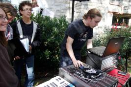 Students mix live sound for Ramstock.