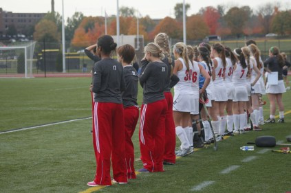The sideline, nervous at the score of 3-0. Photo by Kinsey Ball