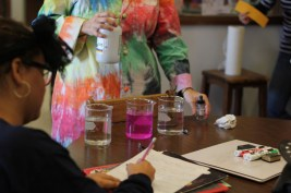 Students watch as different elements produce varying shades of pink.