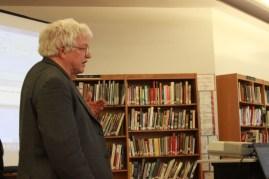 Dr. Bennett Jenson prepares for his presentation about Gardasil. | By Meg Shanks