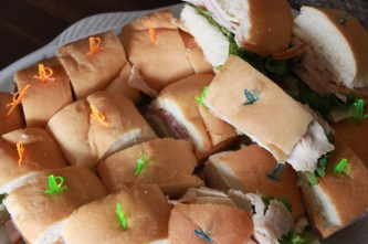 Sandwiches made by photographer Samantha Klein (11) awaited to be served. Photo by Meg Shanks.