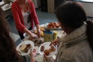 Danielle Bridge (11), Emma Harris (11) and Rachel Hoskins (11) picked up various sweets to begin the feast. Photo by Meg Shanks.