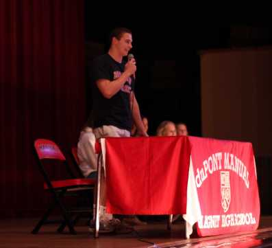 "Brian Habacivch, (12) makes his ""thank you"" speech to the crowd after signing his letter of intent to swim at Boston University."