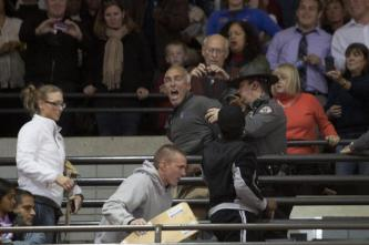 An anti-abortion protester disrupts Obama's speech before being physically removed from the hall. Photo by Yazmin Martinez.