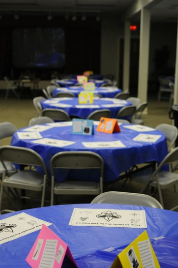 Rows of tables were lined up towards a screen for a presentation about Troop 40. Photo by Jack Steele Mattingly