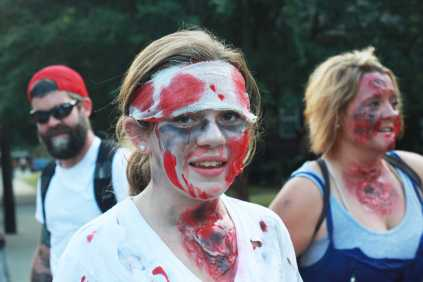 Some participants had full face pant and fake blood for their zombie decor.