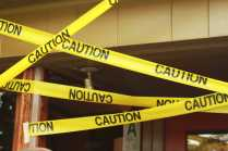 To add to the scenery places were posted with yellow caution tape.