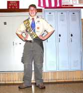 """Noah Burke (10, HSU): RUSSEL """"This is a real boy scout outfit. I am an Eagle Scout."""""""