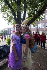 Rapunzel(Hayley Barker, 12) and Snow White(Katharine Stodghill, 11) display their friendship. Photo by Jack Steele Mattingly