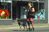 Roller Blading with a dog was difficult