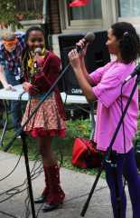 "Sophia Crowder (12) and Shania perform together as a duo singing songs like ""Roar' by Katy Perry and ""Finally"" by Alicia Keys. Photo by Julia Nguyen"