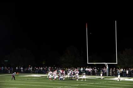 As Manual scores their final touchdown, the field goal was good making the score 38-30, Trinity still in the lead.