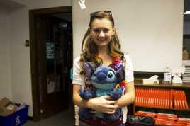 """""""Lilo"""" comes into class with her buddy Stitch for an early psychology lesson. Photo by Olivia Cook"""