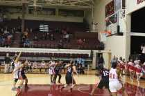 Jeanay Riley's (10, #15) free throw attempt floats above the rim before falling in. Photo by Cicada Hoyt.