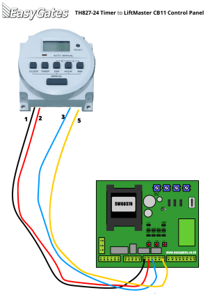 Wiring Diagram for Connecting TH82724 Timer to LiftMaster
