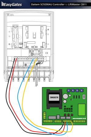 Daitem SC9200AU Controller to LiftMaster CB11 Control Panel
