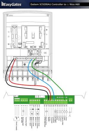 Daitem SC9200AU Controller to Nice A60 Control Panel