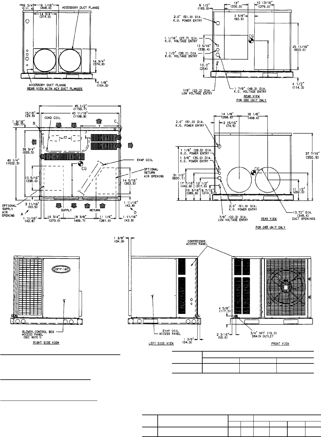 Carrier 50ss018 060 50sx024 060 Fig 5 Dimensions Units