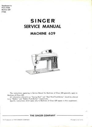 Singer 604  629 Sewing Machine Service Manual