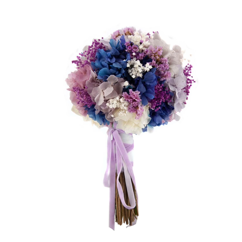 frente bouquet de hortensias preservadas morado y azul
