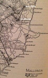 Mapa del libro Historia de la Cruzada, reproducido en Massot i Muntaner, 'El desembarcament de Bayo a Mallorca' (Abadia de Montserrat, 1987)