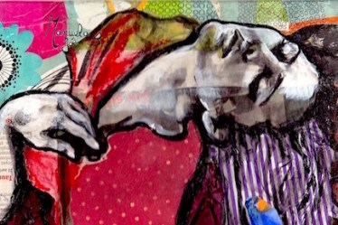 extrait tableau danseuse penchée en arrière collage peinture