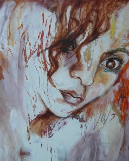 peinture sur bois, visage femme oeil noir technique grattage
