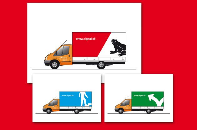 Grafik, Fahrzeugbeschriftung.Entwurf für die Planen der Lastwagenflotte der Signal AG