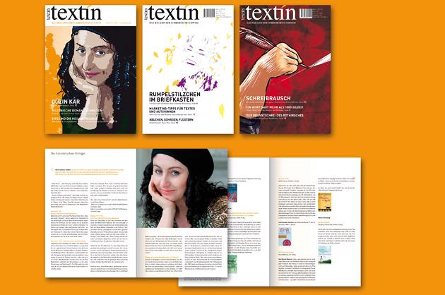 Drei Cover und zwei Inhaltsseiten von textin