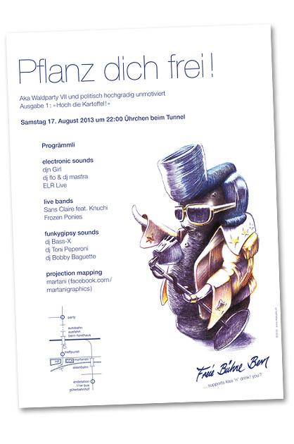 Flyer für die Waldparty Nummer sieben, Variante A4