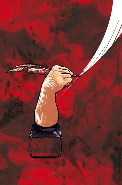 Illustration Novemberschreiben – Tintenfass mit Hand und Feder