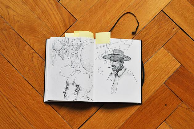 Doppelseite mit zwei Skizzen; eine in Punkttechnik, die andere als Strichzeichnung