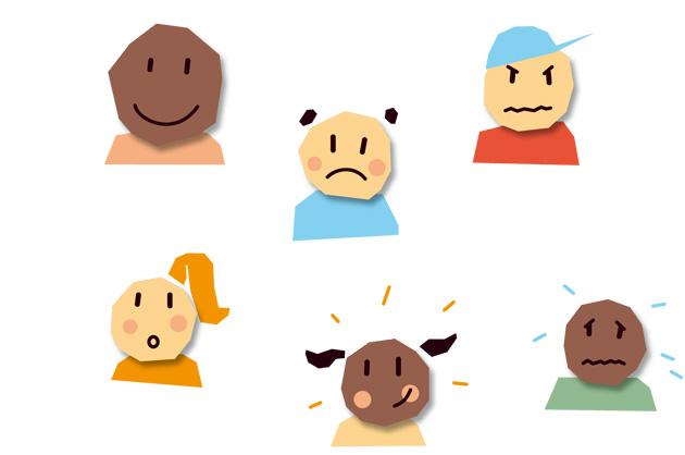 Umsetzung different feelings different faces für das Lehrmittel