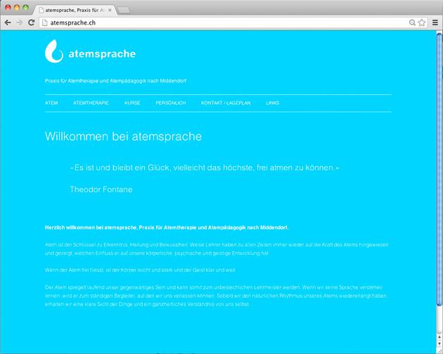 Startseite der Homepage atemsprache