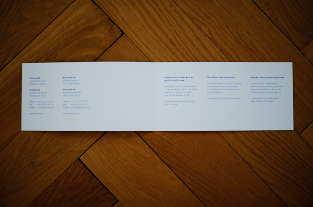 fastlog-Karte, Innenseite mit Dankestext und Absender in drei Sprachen