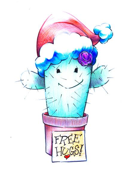 Santa Kaktus mit Free Hugs