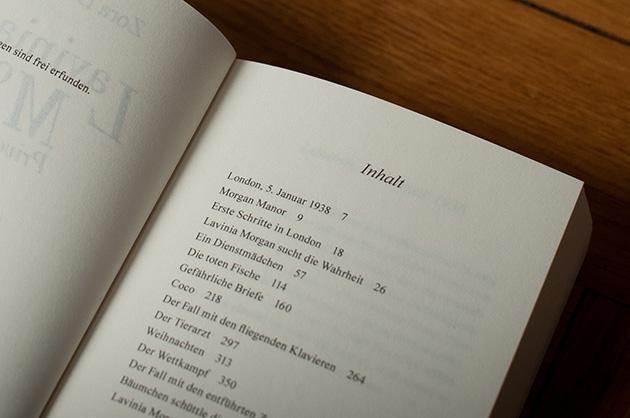 Buchgestaltung – Lavinia Morgan – Inhaltsverzeichnis