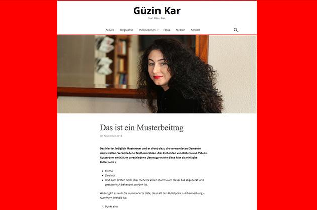 Webdesign für Güzin Kar – erster Entwurf für die Darstellung auf einem grossen Bildschirm