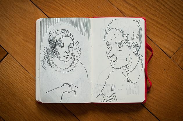Skizzen von fiktiven Figuren