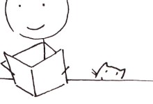 Logo-Design Beitragsbild; Strichmännchen liest in einem Buch, Katze im Hintergrund