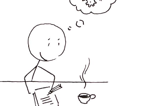 Arbeitsvorbereitung für ein Logo; Strichmännchen macht sich Notizen