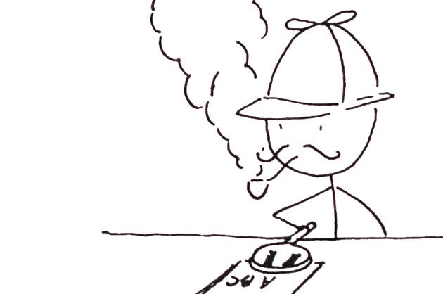 Einen Grafiker finden; Strichmännchen als Sherlock Holmes