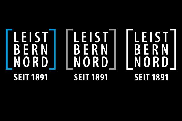 Leist Bern Nord – Logoanwendungen negativ auf schwarzem Hintergrund