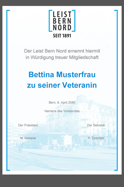 Leist Bern Nord – fertig ausgedruckte Urkunde