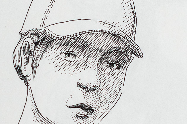 Illustration mit Tuschezeichner – Frau mit Hut, Detail