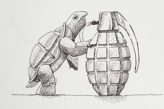 Illustration mit Tuschezeichner – Schildkröte mit Handgranate, Totale