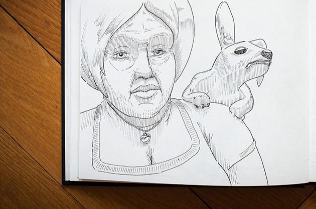 Skizze einer Frau mit einem hundeähnlichen Wesen