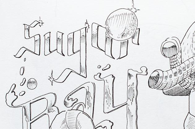 Detail der Zeichnung «Sugar Bay Piwats» – Illustration mit Figur und Schriftzug – Ausschnitt aus dem Schriftzug