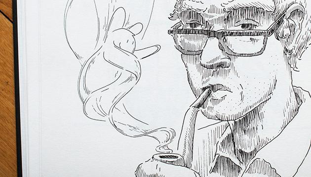 Skizzen mit dem Tuschezeichner – Beitragsbild mit einem Pfeife rauchenden Mann und einer Rauchfigur