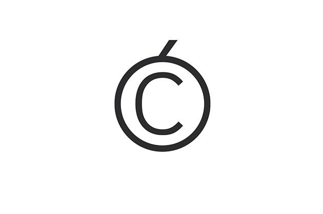 Logo-Design. Vorschlag für Vesna Gaijc, Kombination von einem Akzent mit dem Copyright-Zeichen